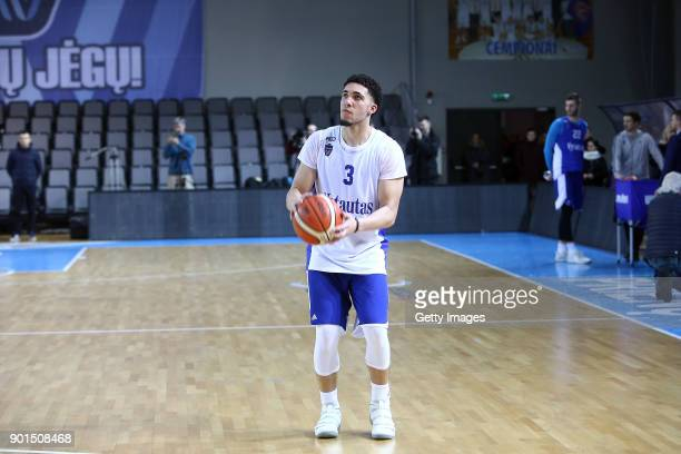 LiAngelo Ball during his first training session with Lithuania Basketball team Vytautas Prienai on January 5 2018 in Prienai Lithuania