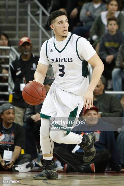 LiAngelo Ball of Chino Hills High School dribbles the ball down court during the game against Mater Dei High School at the Galen Center on February...