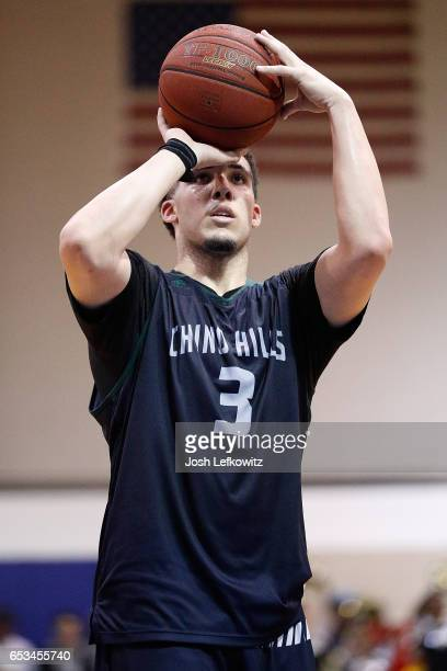 LiAngelo Ball of Chino Hills High School shoots a free throw during the game against Bishop Montgomery High School at El Camino College on March 14...
