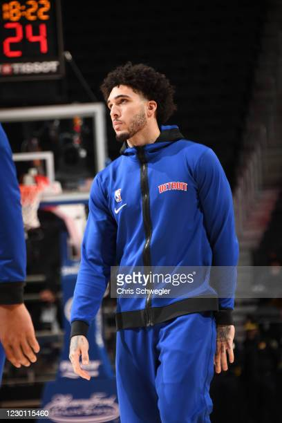 LiAngelo Ball of the Detroit Pistons looks on before a preseason game against the New York Knicks on December 13, 2020 at Little Caesars Arena in...