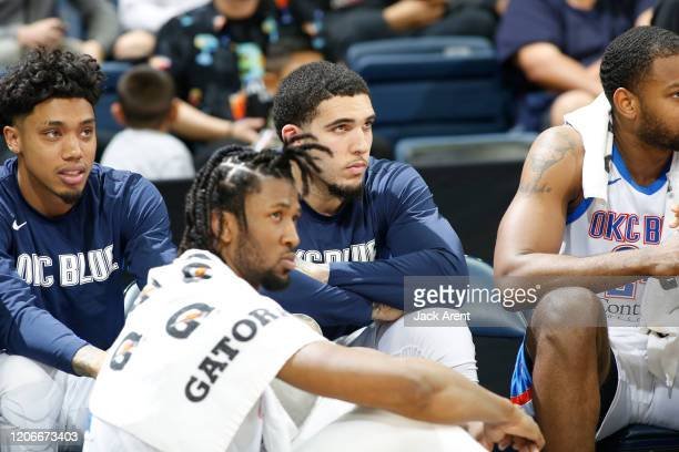LiAngelo Ball of the Oklahoma City Blue watches his teammates play against the Stockton Kings during an NBA G-League game on March 11, 2020 at...