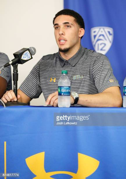 LiAngelo Ball of the UCLA Men's Baskeball team speaks to the media during a press conference at Pauley Pavilion on November 15 2017 in Los Angeles...