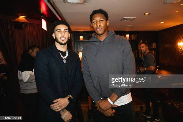 LiAngelo Ball poses with Ike Anigbogu at LiAngelo Ball's 21st Birthday Party at Argyle club on November 23, 2019 in Hollywood, California.