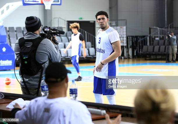 LiAngelo Ball receives instructions from his dad LaVar Ball during his first training session with Lithuania Basketball team Vytautas Prienai on...