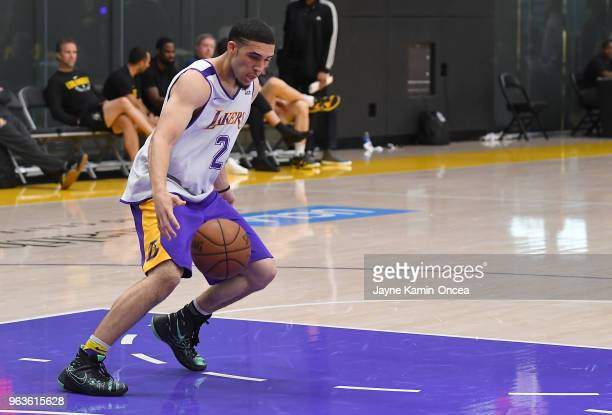 LiAngelo Ball shoots baskets during the Los Angeles Lakers 2018 NBA PreDraft Workout on May 29 2018 in Los Angeles California NOTE TO USER User...