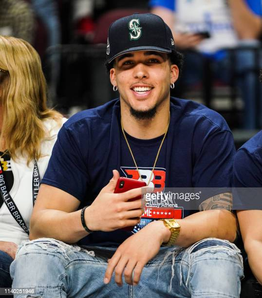 LiAngelo Ball sits court side at the Big Baller Brand All American Game at the Orleans Arena on March 31, 2019 in Las Vegas, Nevada.