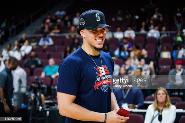 LiAngelo Ball smiles court side at the Big Baller Brand All American Game at the Orleans Arena on March 31, 2019 in Las Vegas, Nevada.