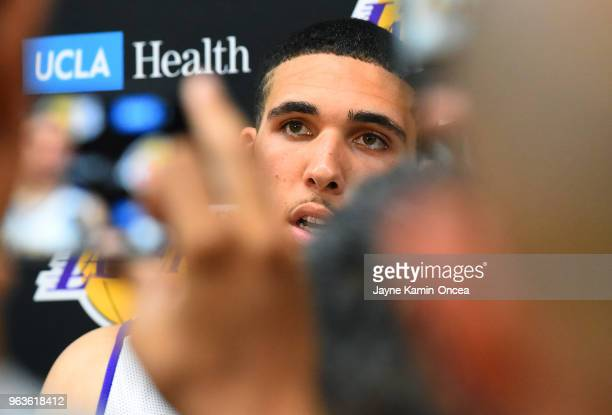 LiAngelo Ball talks to members of the media following his participation in the Los Angeles Lakers 2018 NBA PreDraft Workout on May 29 2018 in Los...