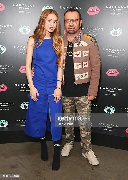 Lianna Perdis and Napoleon Perdis attend the launch of 'Total Bae' for Napoleon Perdis on April 28 2016 in Sydney Australia