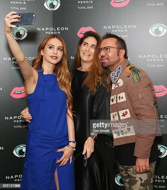 Lianna Perdis Jackie Frank and Napoleon Perdis attend the launch of 'Total Bae' for Napoleon Perdis on April 28 2016 in Sydney Australia