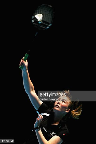 Lianne Estelle Shirley of New Zealand makes an overhead smash during the Badminton women's doubles match between New Zealand and Kenya at the...