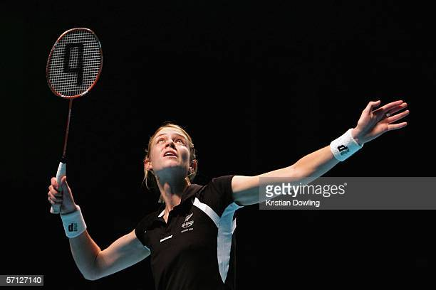 Lianne Estelle Shirley of New Zealand prepares for an overhead smash during the Badminton mixed team quarter final match between New Zealand and Sri...