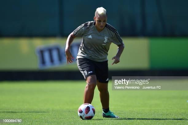 Lianne Sanderson during a Juventus Women training session at Juventus Center Vinovo on July 17 2018 in Vinovo Italy