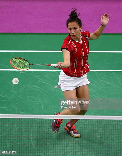 Lianne Tan of Belgium competes against Kristina Gavnholt of Czech Republic in Women's Singles round of 16 match during day thirteen of the Baku 2015...