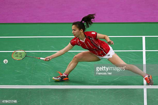 Lianne Tan of Belgium competes in the Women's Badminton round of 16 match against Kristina Gavnholt of the Czech Republic during day thirteen of the...