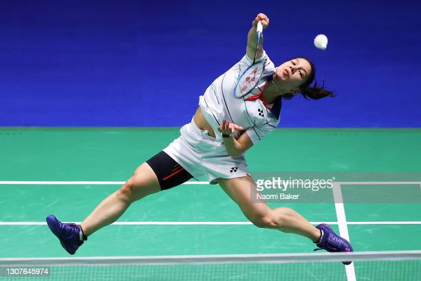 Lianne Tan of Belgium in action during her first match against Phittayaporn Chaiwan of Thailand during day one of YONEX All England Open Badminton...