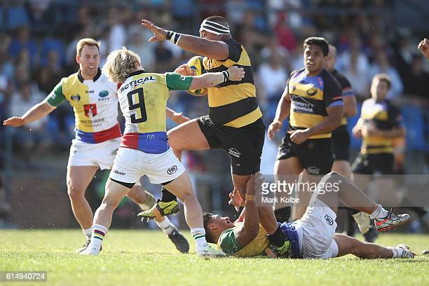 Liaone Mulikihaamea of the Spirit is tackled during the NRC Semi Final match between the Sydney Rays and Perth Spirit at Pittwater Park on October 16...