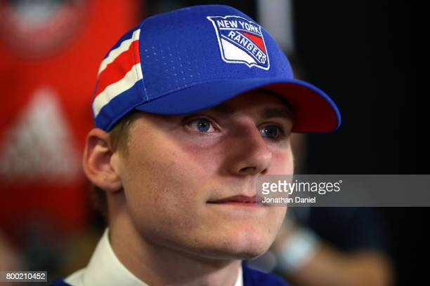Lias Andersson is interviewed after being selected seventh overall by the New York Rangers during the 2017 NHL Draft at the United Center on June 23...