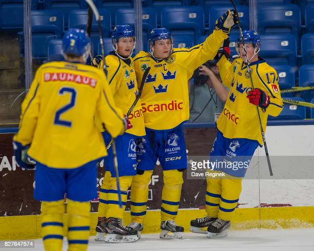 Lias Andersson of Sweden celebrates a goal with teammates against USA during a World Jr Summer Showcase game at USA Hockey Arena on August 2 2017 in...