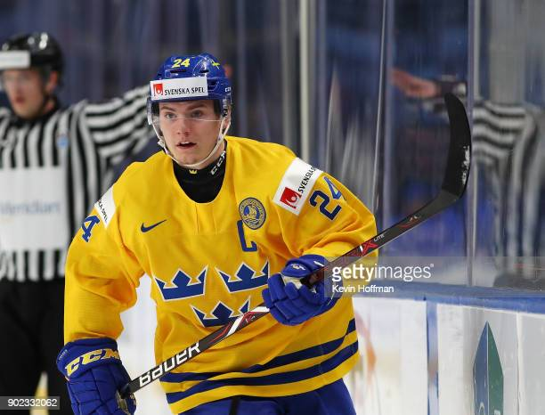 Lias Andersson of Sweden during the IIHF World Junior Championship against the United States at KeyBank Center on January 4 2018 in Buffalo New York