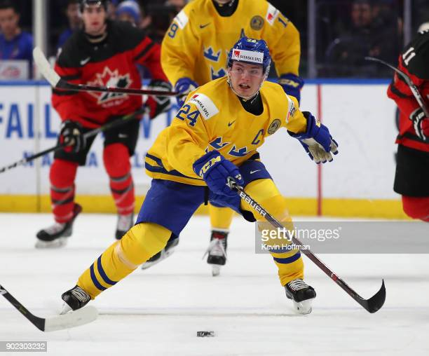Lias Andersson of Sweden in play against Canada during the Gold medal game of the IIHF World Junior Championship at KeyBank Center on January 5 2018...