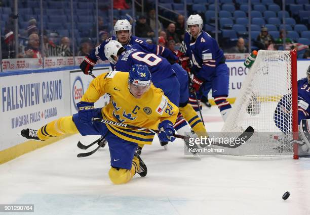 Lias Andersson of Sweden passes the puck from behind the United States net in the first period during the IIHF World Junior Championship at KeyBank...