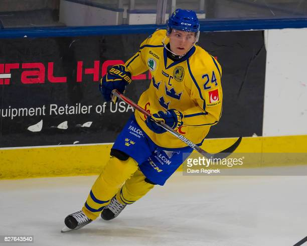Lias Andersson of Sweden turns up ice against USA during a World Jr Summer Showcase game at USA Hockey Arena on August 2 2017 in Plymouth Michigan...