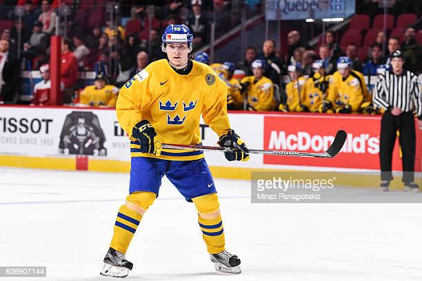 Lias Andersson of Team Sweden looks on during the IIHF World Junior Championship preliminary round game against Team Denmark at the Bell Centre on...