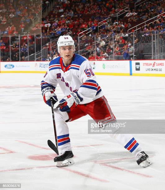 Lias Andersson of the New York Rangers skates against the New Jersey Devils at the Prudential Center on September 23 2017 in Newark New Jersey The...