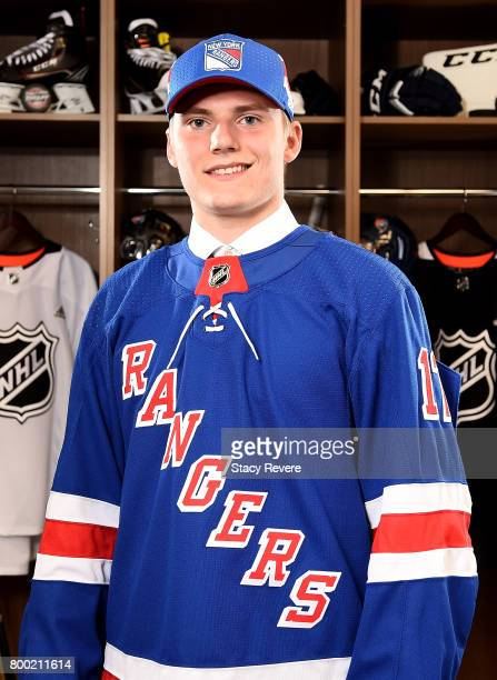 Lias Andersson poses for a portrait after being selected seventh overall by the New York Rangers during the 2017 NHL Draft at the United Center on...
