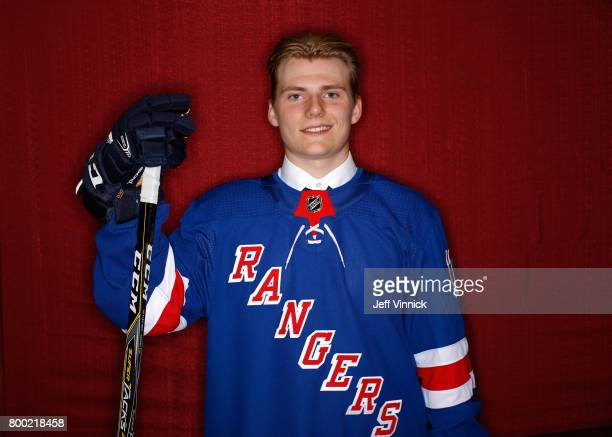 Lias Andersson seventh overall pick of the New York Rangers poses for a portrait during Round One of the 2017 NHL Draft at United Center on June 23...