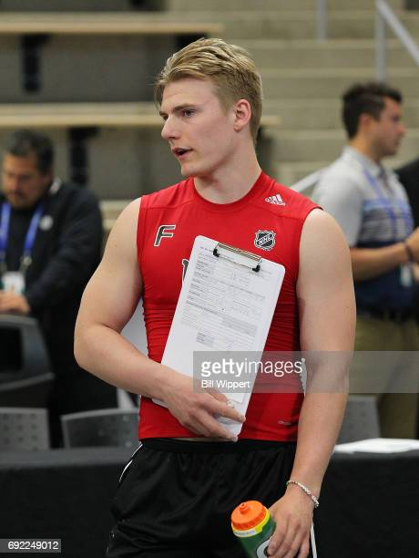 Lias Andersson takes a break during the NHL Combine at HarborCenter on June 3 2017 in Buffalo New York