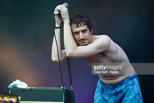 Lias Kaci Saoudi from Fat White Family performs at We Love Green Festival Day 02 on June 5 2016 in Paris France