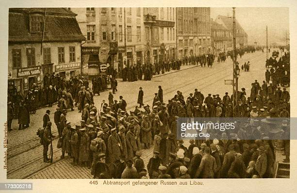 Libau under World War I German Occupation Taken from photograph shows captured Russian troops rounded up for evacuation by German forces in large...