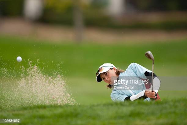 Libby Smith follows through on a bunker shot during the final round of the CVS/Pharmacy LPGA Challenge at Blackhawk Country Club on October 17 2010...