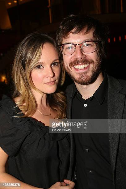 Libby Winters and boyfriend John Gallagher Jr pose at the Opening Night Afterparty for 'Ripcord' at The Manhattan Theatre Club at New York City...