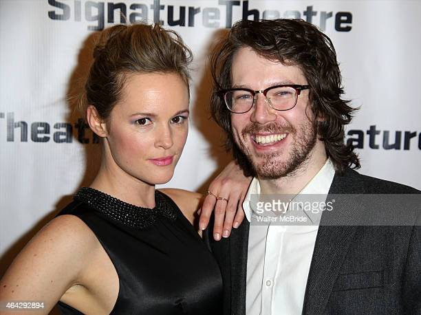 Libby Winters and John Gallagher Jr attend the OffBroadway Opening Night party for 'Big Love' at the Signature Theatre Company's Pershing Square...