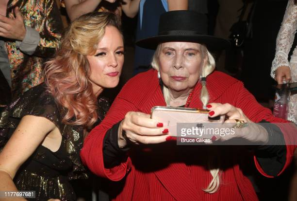 """Libby Winters and Joni Mitchell pose for a selfie at the opening night of the new musical """"Almost Famous"""" at The Old Globe Theatre on September 27,..."""