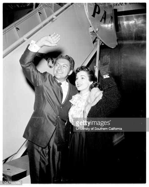 Liberace 23 February 1958 Liberace and Dolores Perry Supplementary material reads 'From News Bureau Pan American World Airways Caption The candelabra...
