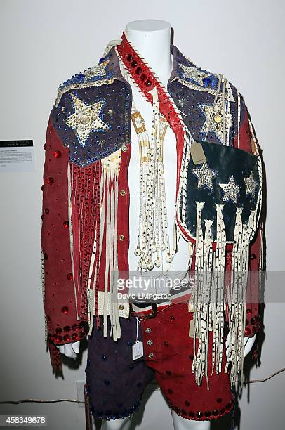 Liberace wardrobe is displayed at Julien's Auctions Media Preview for Icons Idols Rock N' Roll Event at Julien's Auctions on November 3 2014 in...