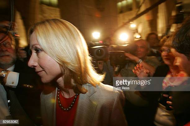 Liberal Belinda Stronach leaves the House of Commons floor after the vote on the budget on May 19 2005 in Ottawa Canada Canada's Prime Minister Paul...