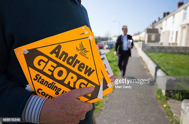 Liberal Democrat Andrew George canvasses in Porthleven on April 8 2015 in Cornwall England The consistency of St Ives which he has held since 1997...