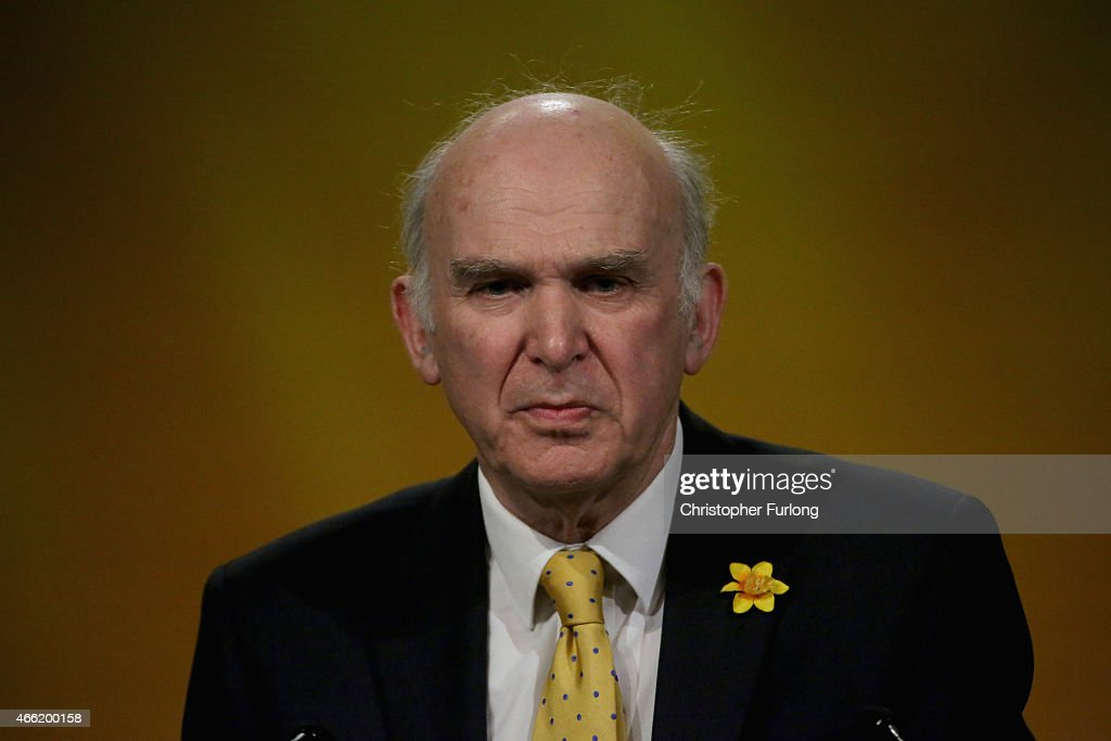 Liberal Democrat business secreatary Vince Cable delivers his keynote speech during the party's spring conference at the ACC on March 14, 2015 in Liverpool, England. Deputy Prime Minister Nick Clegg confirmed today that Mental health services in England will receive £1.25bn in next week's Budget.