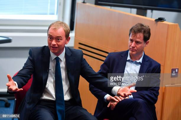 Liberal Democrat candidate for Sheffield Hallam and former party leader Nick Clegg and Liberal Democrat leader Tim Farron speak to staff at a Brexit...