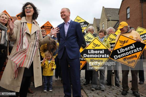 Liberal Democrat candidate for the constituency of Oxford West and Abingdon Layla Moran stands next to Liberal Democrat leader Tim Farron at a...