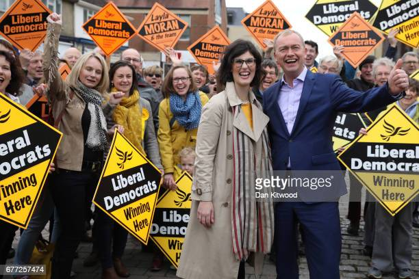 Liberal Democrat candidate for the constituency of Oxford West and Abingdon Layla Moran stands with supporters next to Liberal Democrat leader Tim...