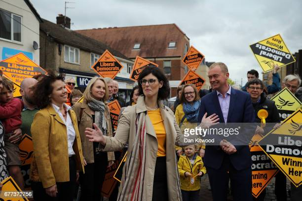 Liberal Democrat candidate for the constituency of Oxford West and Abingdon Layla Moran speaks to supporters with Liberal Democrat leader Tim Farron...