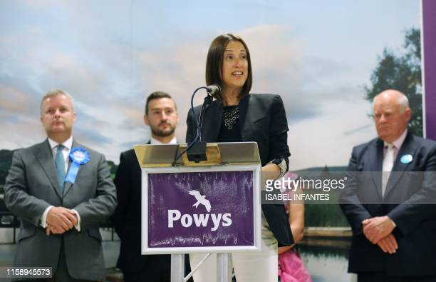 Liberal Democrat candidate Jane Dodds delivers a speech after winning the Brecon and Radnorshire byelection at the Royal Welsh Showground on August 2...