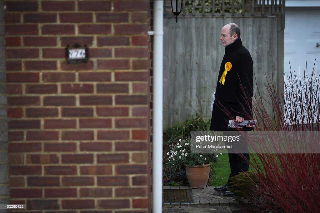 Liberal Democrat candidate Jasper Gerard stands on a doorstep as he waits to speak to a resident as he campaigns for votes in the Maidstone and the Weald constituency on January 26, 2015 in Maidstone, England. Campaigning for the May 7th general election is well under way with just over 100 days to go to polling day.