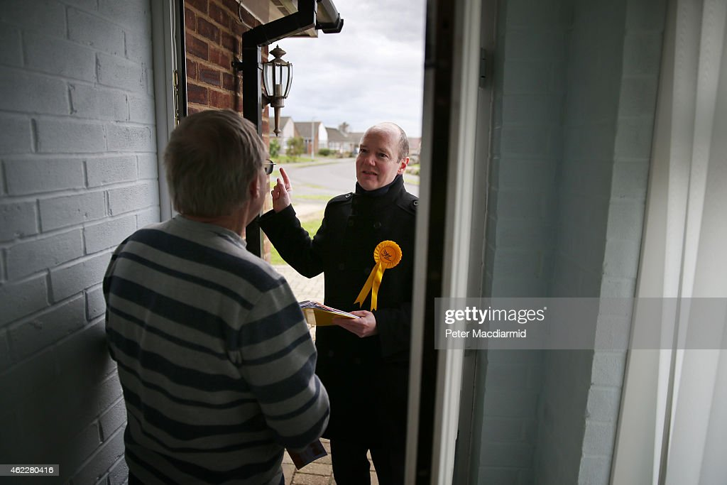 Liberal Democrat candidate Jasper Gerard talks to a resident as he campaigns for votes in the Maidstone and the Weald constituency on January 26, 2015 in Maidstone, England. Campaigning for the May 7th general election is well under way with just over 100 days to go to polling day.